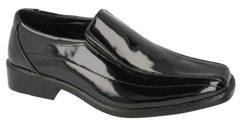 * Venta * Jcdees N1077 Boy's Negro Sintético Patente Slip On Boda/formal Zapatos