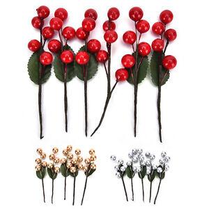 5XMini-Natale-Rosso-Frutta-Bacca-Agrifoglio-Fiore-artificialePickHomeDecorDIY-CR