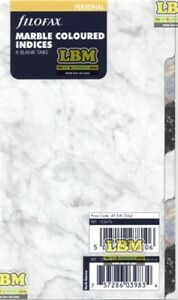 Image Is Loading Filofax Personal Size Marble Coloured Index 6 Part