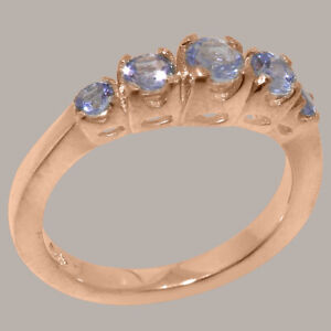 Solid-18k-Rose-Gold-Natural-Tanzanite-Womens-band-Ring-Sizes-J-to-Z