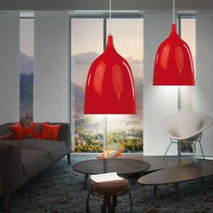 Details Sur Suspension Lustre Luminaire Plafond Metal Rouge Salle A Manger Cuisine De Table