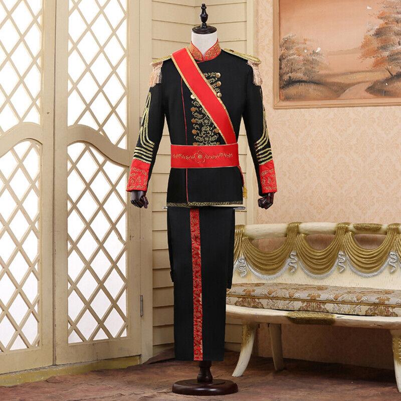 Mens Uniform Jacket Pant Full Set Halloween Party King Prince Cosplay Costume