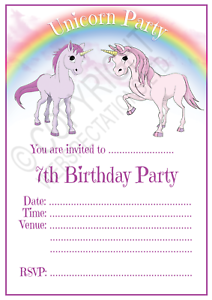Details About Unicorn 7th Birthday Party Invitations Cards Girls Age 7 Kids Invites Envelopes