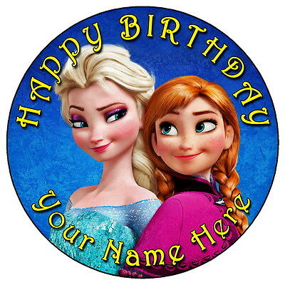 """7.5 /""""Personalizadas Ronda Comestibles Glaseado Cake Topper Frozen Anna"""