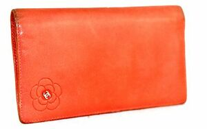 Authentic-CHANEL-CC-Logo-Bifold-Long-Wallet-Coral-Orange-Leather-ITALY-12545988