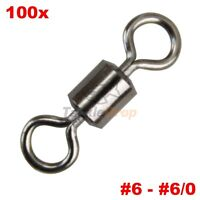 100x Crane Barrel Rolling Swivel Strong Fishing Line Connector Solid Ring Usa