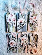 Vintage Valentine rose heart ladies cards tags scrapbooking crafts set of 6