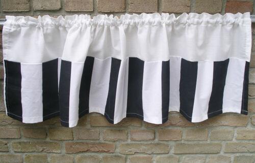 Gardine *PIANO* SHABBY Chic Scheibengardine Blockstreifen Streifen schwarz weiß