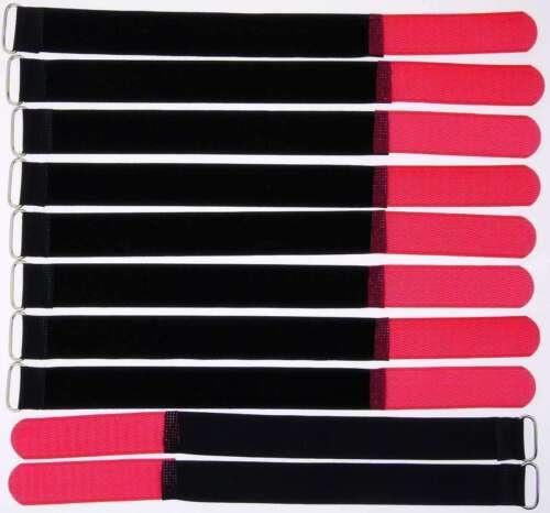10 Kabelbinder Klettband Klett 30 cm x 25mm rot Klettbänder Kabelklett Metallöse