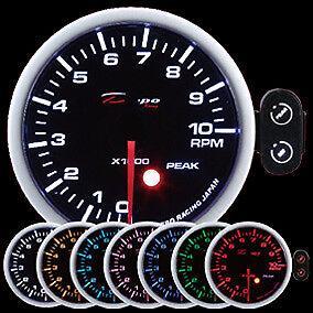 52mm Depo Racing Tachometer peak warning PK-SC5293B Battery red amber blue RPM
