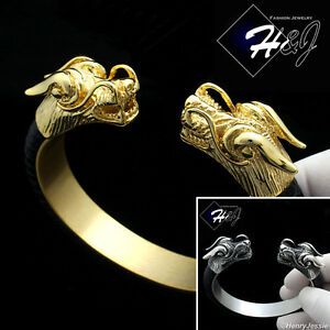 Image Is Loading Men Stainless Steel 12mm Black Gold Silver Dragon