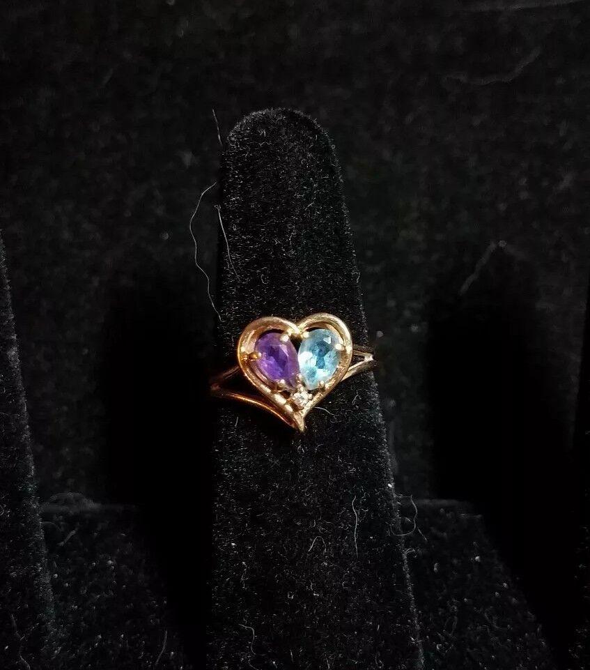 14k yellow gold amethyst bluee topaz diamond ring size 6 C 659