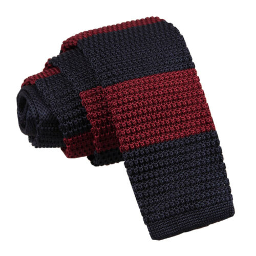 DQT Knit Knitted Striped Burgundy Navy Casual Mens Skinny Tie