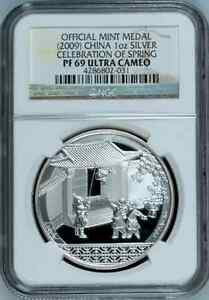 China-2009-S10Y-Celebration-of-Spring-Medal-NGC-PF69-999-Silver-RARE-Bullion