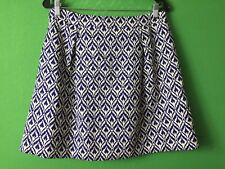b71202050 item 3 7677) J CREW size 8 blue geometric A-line mini skirt pleated pockets  above knee -7677) J CREW size 8 blue geometric A-line mini skirt pleated  pockets ...
