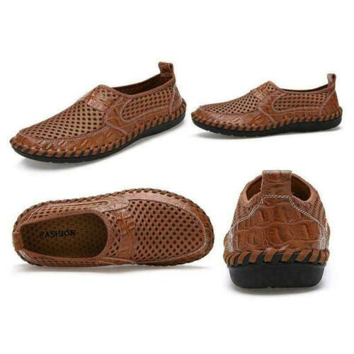 2019 Top Mens Leather Casual Shoes Breathable Driving Loafers Slip on Mesh Shoes