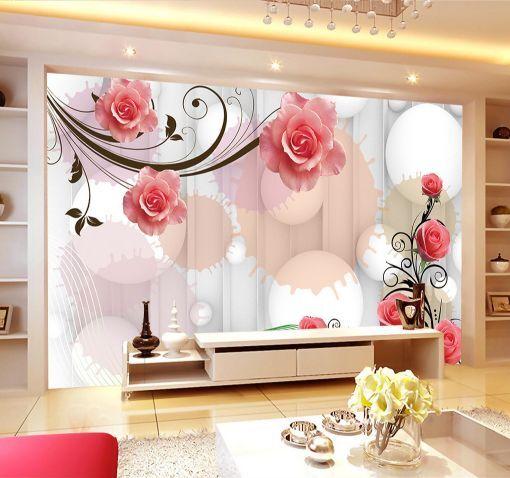 3D Ronde Fleurs 79 Photo Papier Peint en Autocollant Murale Plafond Chambre Art