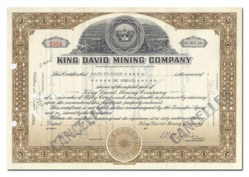 King David Mining Company Stock Certificate