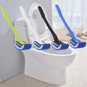 Plastic Long Handle Bathroom Toilet Scrub Lavatory Double Side Cleaning Brush