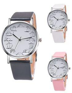 Neue-modische-Armbanduhr-Kunstleder-Katzen-Comic-Quarzuhr-fuer-Damen-und-Herren