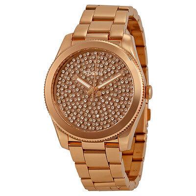 Fossil Perfect Boyfriend Rose Gold Crystal Steel Ladies Watch ES3690