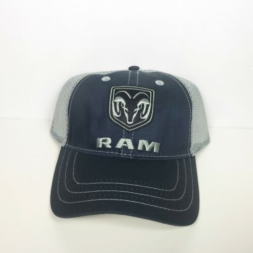 NWT RAM Navy and Gray Mesh Adjustable Snap Back Hat Silver Logo Licensed
