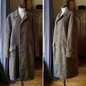 HARRIS TWEED Men's Vintage 1950s Wool Top Coat Overcoat Jacket 46 WOW