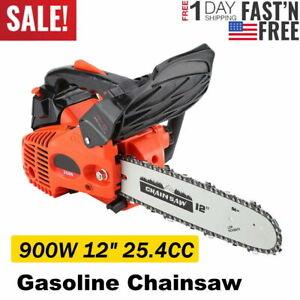 """12"""" Bar Gasoline Chainsaw Chain Saw Wood Cutting Grindling Machine 25.4CC Engine"""