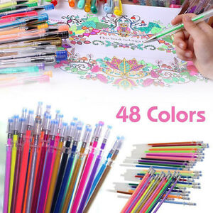 Details About 48 Colors Gel Pens Glitter Coloring Drawing Painting Craft Markers Stationery