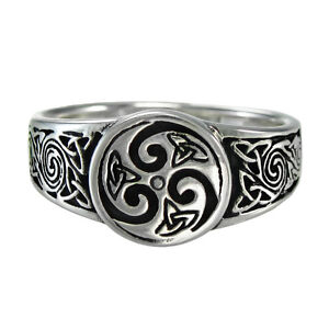 celtic knot spiral ring sz 4 15 ss triquetra