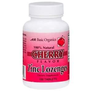 Basic Organics Natural Flavor Zinc Lozenges Cherry 100 Tablets Ebay