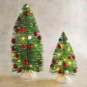 Pier One Christmas Trees.Details About Pier 1 Imports Led Light Up Green Bottle Brush Christmas Trees Set Of 2