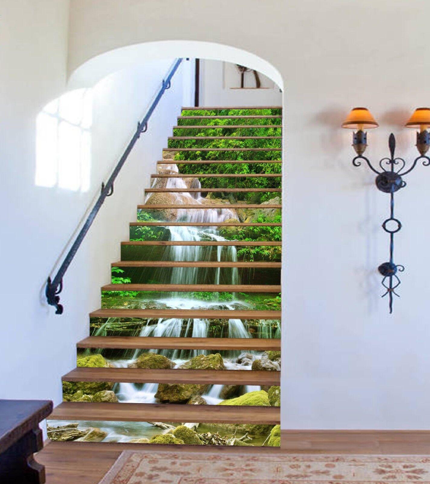 3D Leaf Stream 5 Stair Risers Decoration Photo Mural Vinyl Decal Wallpaper CA