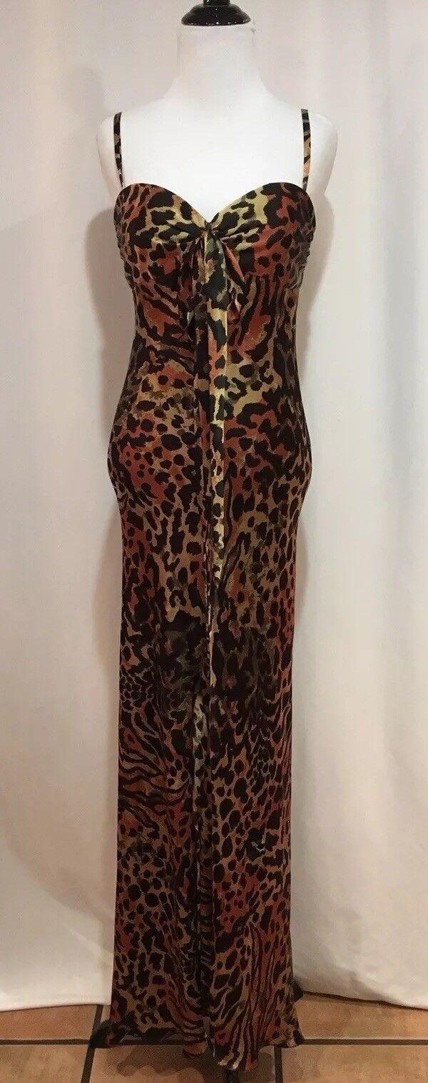 Vestido de Noche Marc  bouwer glamit Naranja Leopardo 100% Seda Formal Vestido para Baile de Graduación Talla 4  punto de venta barato
