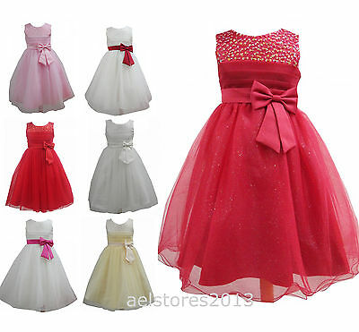 Flower Girls Party Bridesmaid Pageant Wedding Dress Age 2 - 12 years New WB909