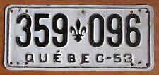 Quebec 1953 License Plate # 359-096