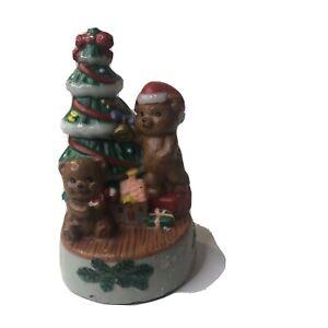 Vintage Christmas Candle Molded Teddy Bears Amp Tree Figurine Artmark
