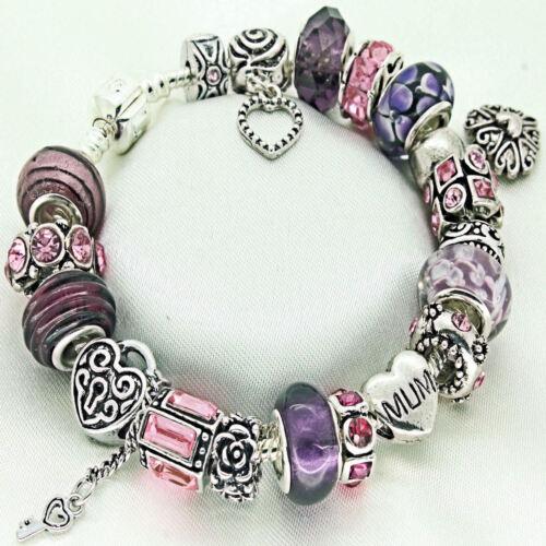 Regalos Personalizados Para Mamá Rosa pulsera de diamantes de imitación de púrpura de perlas Freepost