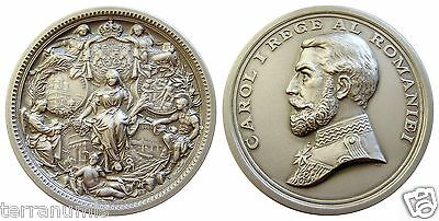 d197  ROMANIA KING CAROL I 25 YEARS OF REIGN MEDAL OFFICIAL RESTRIKE IN BOX
