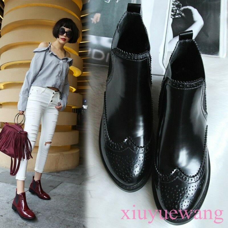 New Women Ankle Boots Patent Leather Pull On Square Toe Chunky Heel Casual SIBO