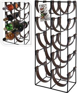 Black Metal Wine Rack 10 Bottle Free Standing Wine Rack Leatherette