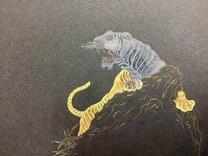 Y0525 DISH Iron Ornamental Plate Tiger Higo Inlay Japanese antique Japan