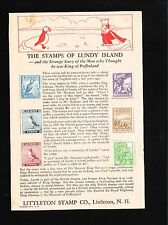 Littleton Stamp Co Promotional Sheet LUNDY Stamps & History Circa 1955 Ó
