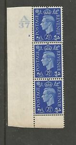 1937-KGVI-MM-2-d-BLUE-IN-CONTROL-A37-CYL-2-NO-DOT-VERT-SCRATCH-ON-TEMPLE-223