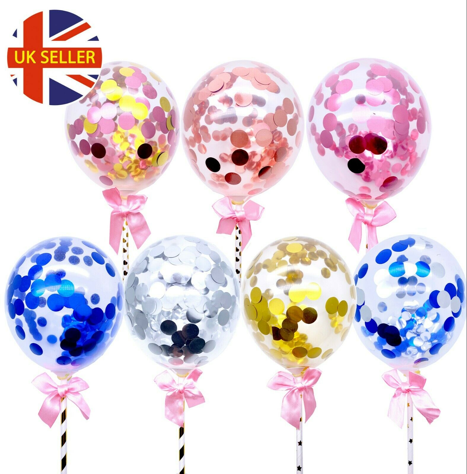1pc x Confetti Cake Topper Balloons Mini Rose Gold Pink ...