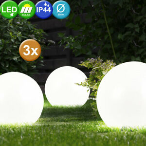 20cm 3er-Set LED Solarleuchte Kugel Garten Beleuchtung Außen Lampe ...