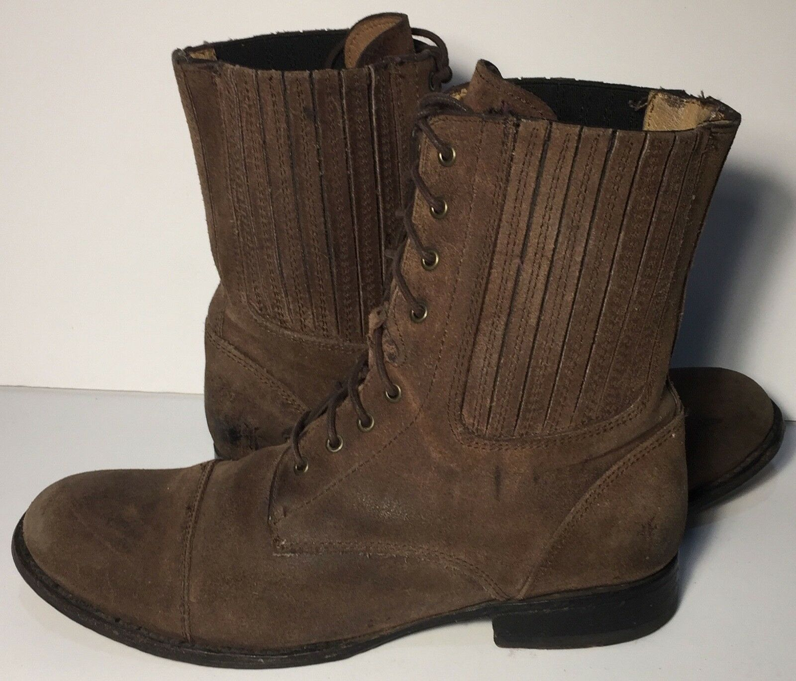FRYE 76361 Erin Gore Lace up Brown Military Motorcycle Work Boots Women Size 8.5
