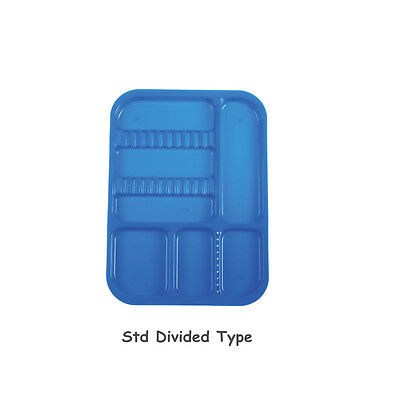 1Pc Dental Instrument Autoclavable Plastic Trays Flat N651 Dividede Blue