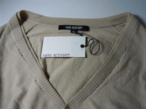 """£ 275.00 Neil BARRETT Fine Cashmere Lana /""""tirato in stile /'Beige Cardigan prezzo consigliato"""