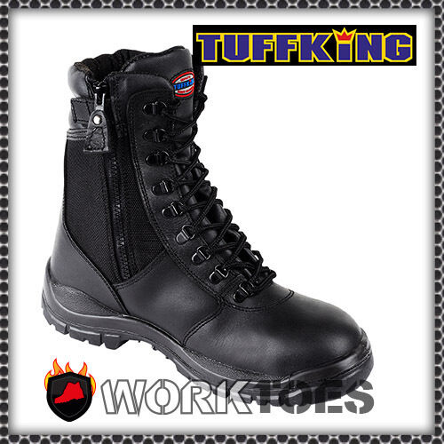 TUFFKING SAFETY LEATHER BOOTS STEEL TOE MIDSOLE MENS WORK SHOES SIZE UK 4-13